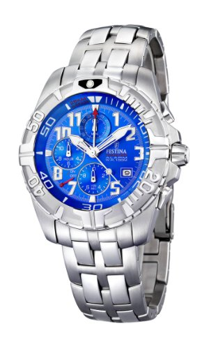 Festina Men's Chrono Watch F16095/1 With Steel Strap And Light Blue Dial