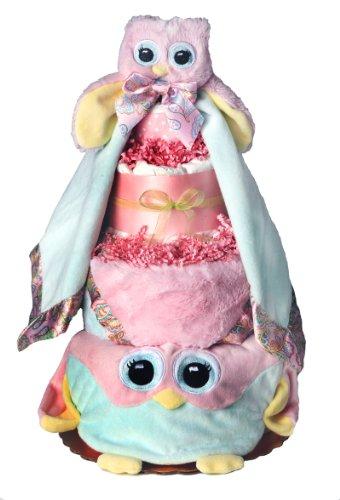 Owl Diaper Cake-cute Baby Girl Gift for Baby Shower--Pink Diaper Cake with Owl Bib, Burp Pad, Blanket