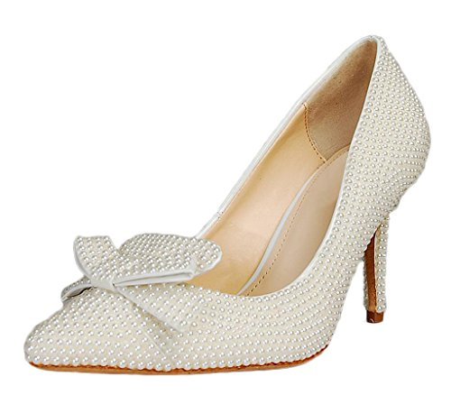 Littleboutique Exotic Women Girls Pointed Toe Pumps Pearl Embellished Evening Heeled Shoes Wedding Shoes White 7