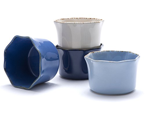 Prima Design Classic Cream to Cobalt Ramekins Set, 4-Inch, Red, Set of 4