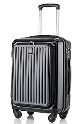 (BTM) Hard Shell Cabin Size 4 Wheel Spinner Suitcase Luggage Boarding Airline Case Trolley Case Carry-on Hand Luggage Black