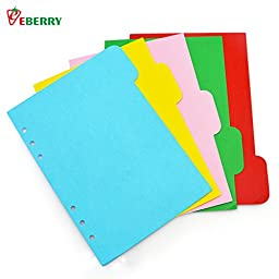A5 Dividers, eBerry® 10 Sheets Colored Day Planner Divider Index Page Tab Cards Notebook Accessories,Fresh Style,Match for A5 6-Holes Ring Binders/Filofax Notebook/School Stationery (KJ-00300)