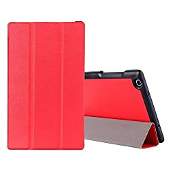 SPL Premium PU Leather Book Stand Cover for Lenovo Tab 2 A850 8-inch (A8-50)-Red