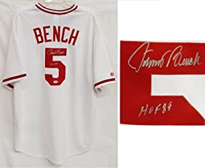Johnny Bench Signed Reds White Cooperstown Jersey w HOF