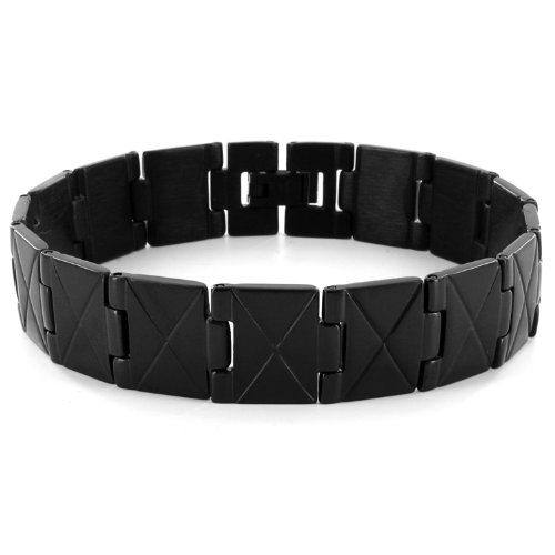 Stainless Steel X Design Link Men's Bracelet - Black