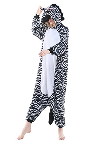 NEWCOSPLAY Zebra Unisex Onesies Pajamas Kigurumi Cosplay Sleepsuit Costume (M, Zebra) (Zebra Costumes For Adults)