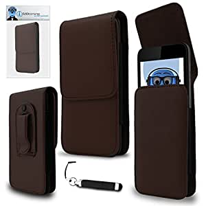iTALKonline Motorola Droid Bionic XT875 Brown PREMIUM PU Leather Vertical Executive Side Pouch Case Cover Holster with Belt Loop Clip and Magnetic Closure and Re-Tractable Captive Touch Tip Stylus Pen with Rubber Tip