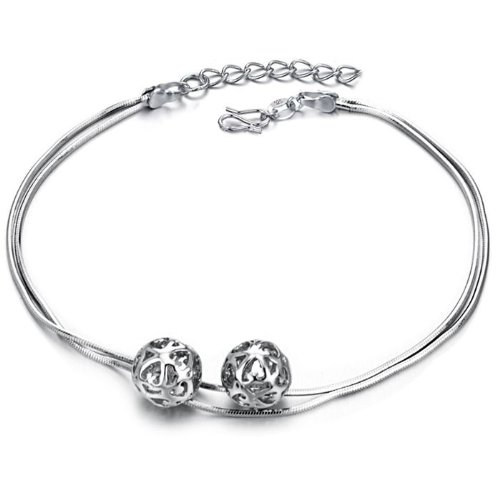 Opk Jewellery Fashion Adjustable Women's Snake Chain Anklet Bracelet 18K White Gold Plated Silver 11mm Hollow Ball Link Foot Chain New Design Stylish Personality Gift Never Fade And Nickle Free 10.24 Inch Length 7g Weight
