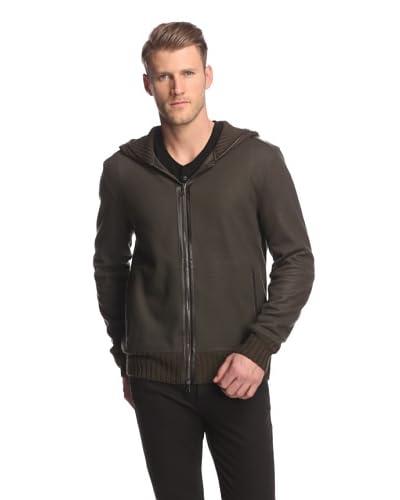 John Varvatos Collection Men's Full Zip Hoodie with Leather Trim