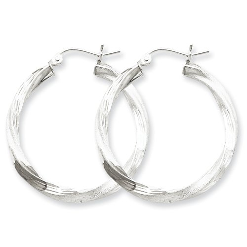 Sterling Silver Rhodium-plated 3.00mm Polished & Satin D/C Twisted Hoop Ear Real Goldia Designer Perfect Jewelry Gift for Christmas