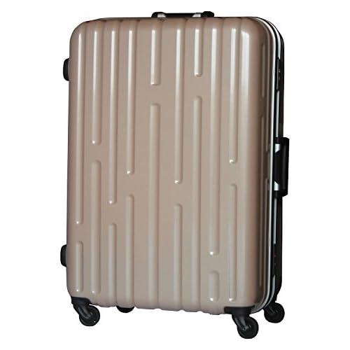 【1年保証付】超軽量 フレーム スーツケース 9046 中型 ベージュ