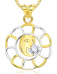 VK Jewels Maheshwaram Gold And Rhodium Plated Alloy Pendant With Chain For Men & Women - P2052G [VKP2052G]