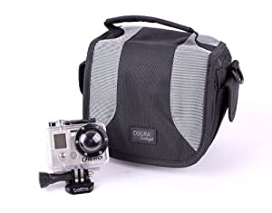DURAGADGET Black & Grey Stylish Lightweigh Durable Pouch With Shoulder Strap Compatible With GoPro LCD BacPac, GoPro Wi-Fi BacPac