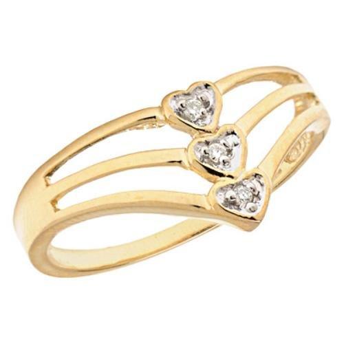 10k Gold 3 Heart Diamond Promise Ring