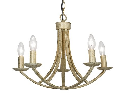 Oaks Lighting 5 Light Caro Cream and Gold Ceiling Fitting