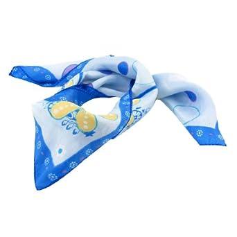 51cm x 51cm Blue Flowers Pattern Kerchief Neck Scarf for Lady