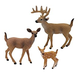 Happy Cherry 3D Emulated Wild Animals Model Set Box Set of 3 White-tailed Deers