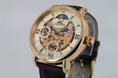 Adee Kaye Mens Mechanical Dual Timezone Skeleton Watch with Sun and Moon Dial