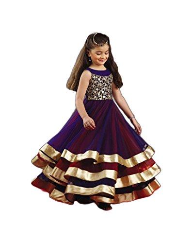 JJR Fashion New Arrival navy blue softnet PartyWear Kids Gown(Size::30)