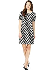 A-Line Monochrome Crescent Print Tunic Dress