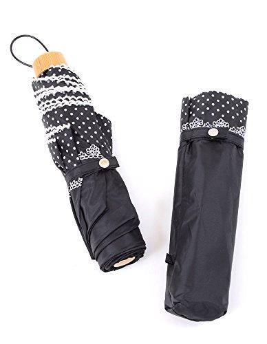 ブラック F (ディーループ)D-LOOP 晴雨兼用 折りたたみ傘 ドット柄 傘 日傘 55? 折り畳み傘 ミニ 折り畳み 折りたたみ かさ 水玉 120774-010-001