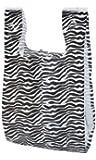 "Lot of 50 Pieces Small Zebra Print Plastic T-shirt Merchandise Gift Shopping Bags 8"" X 5"" X 16"""