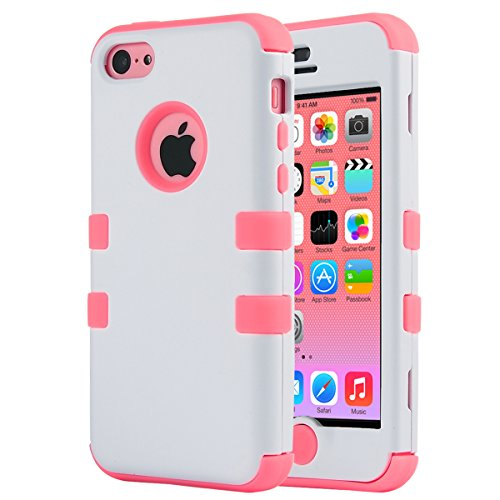 iPhone 5C Case, ULAK 3in1 Anti Slip IPhone 5C Case Hybrid with Soft Flexible Inner Silicone Skin Protective Case Cover for Apple iPhone 5C White + Coral Pink (Protective Pink Iphone 5c Case compare prices)