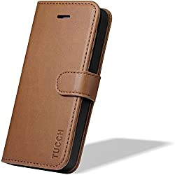 TUCCH® Leather Case for iPhone 5s iPhone 5, Premium Protective Wallet Leather Cover with Credit Card Slots, Flip Book Cover with Kickstand Feature, Magnetic Closure (Brown)