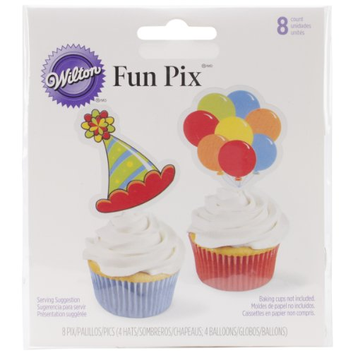 Wilton 2113-0352 8 Count Treat Pix Decorating Tool, Balloons and Hat - 1