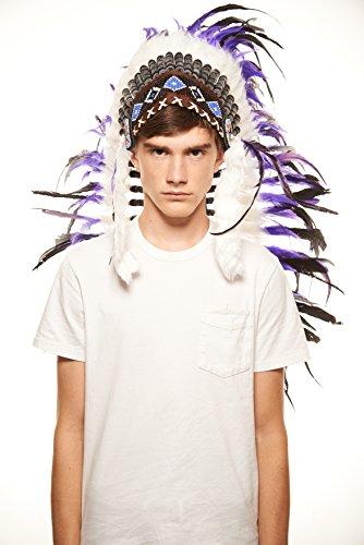 Tribal Costumes Men'S Native American Inspired Chief Headdress / Warbonnet, Purple