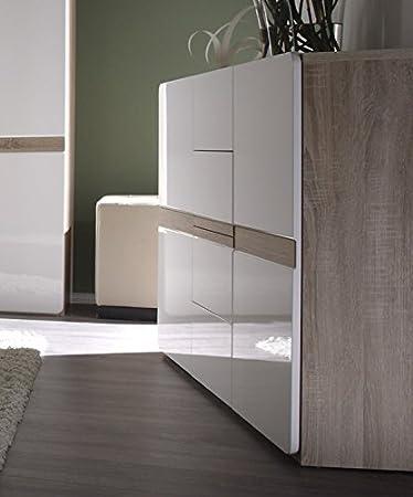 Kommode Sideboard 5406 sonoma eiche / weiß Hochglanz