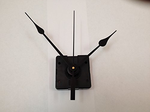 "Quartz Clock Movement Kit with 5 1/4"" Black Spade Hands for Dials up to 1/2"""