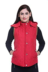 Trufit Sleeveless Solid Women's Red Quilted Removable Hood Polar Fleece Lining side Rib Polyetser Bomber Polyfill jacket