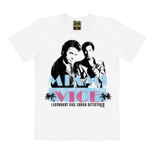 T-shirt Miami Vice - maglia Cult del film - maglietta girocollo - bianco - t-shirt originale della marca TRAKTOR®, taglia XL