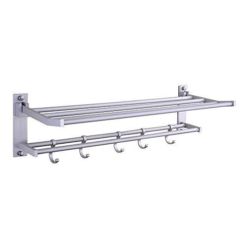 Foldable 575Mm Towel Rack Holder Hanger Bathroom Shelf Bar Wall Mounted Alumimum front-235297