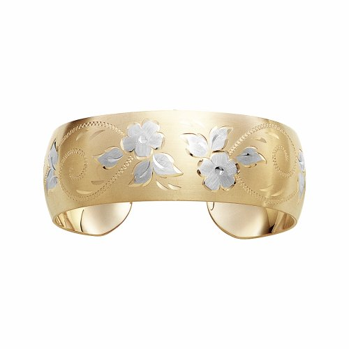 14k Yellow Gold Filled Hand Engraved Cuff Bracelet