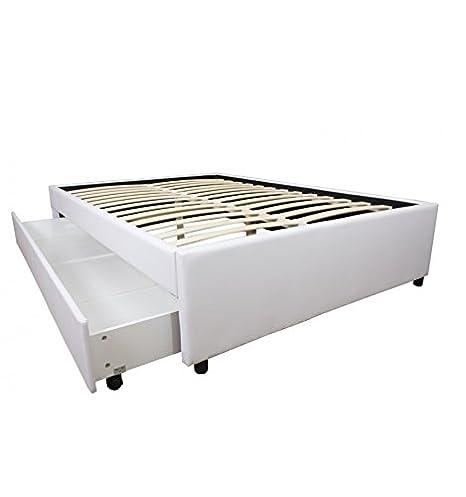 Conforeva - Somier con cajón (piel sintética, 90 x 200 cm), color blanco