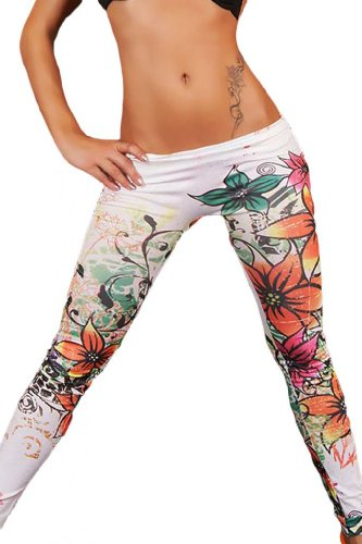 Dear-Lover Women'S Low Rise Flowery Legging One Size Multicoloured [Apparel]