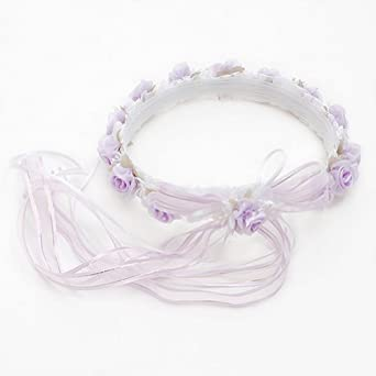 Lito Girls Lilac Roses Pearl Bow Streamer Special Occasion Hair Wreath
