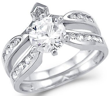 Size- 8 - Solid 14k White Gold Round CZ Cubic Zirconia Engagement Wedding Two Ring Set 2.0 ct