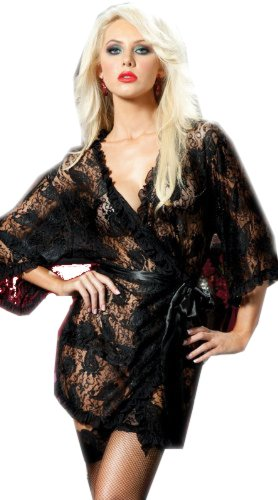 Tamari Black Lace Sexy Robe Lingerie For Women One Size (UK 8, 10, 12)