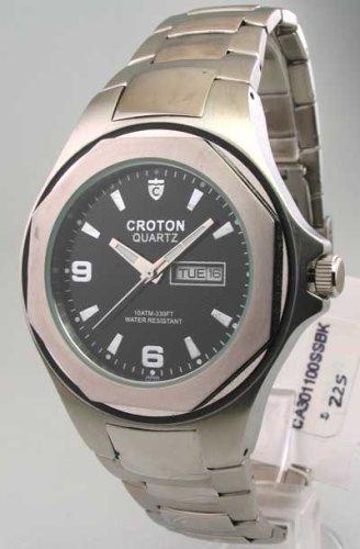 Mens Croton Steel Day Date Watch CA301100SSBK