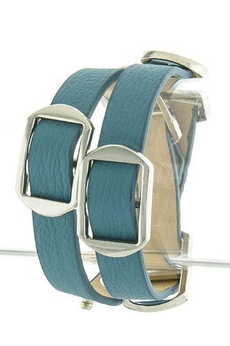 The Jewel Rack Buckle Wrap Bracelet (Blue/Silver)
