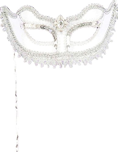 Forum Novelties Women's Metallic Masquerade Mask with Holding Stick, Silver, One Size