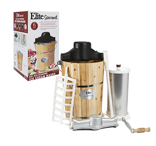 Elite Gourmet EIM-506 Maxi-Matic 6 Quart Old Fashioned Pine Bucket Electric/Manual Ice Cream Maker (Ice Cream Maker Old Fashioned compare prices)