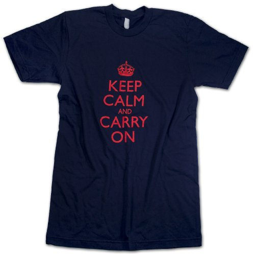 Keep Calm and Carry On American Apparel Mens & Womens Navy T Shirts w/ Vintage WW2 Propaganda Poster