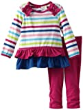 ABSORBA Baby-Girls Infant Knit Tunic Legging Set, Multi Stripe, 12 Months