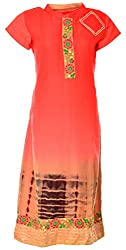 Sree Hamsa Women's Silk Regular Fit Kurta (Orange)