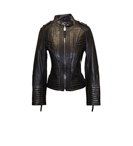 Michael Kors Buckle-Collar Leather Jacket-Black-L