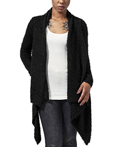 Urban Classics Ladies Knit Feather Cardigan, Cappotto Donna, Schwarz (Blk/Blk 17), Medium
